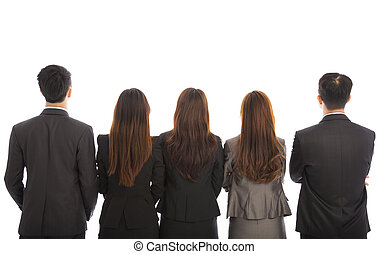 Back view of a Group of business team. Isolated on white...