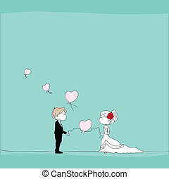 wedding couple with heart shaped balloons background