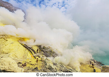 Ijen - Lake in a crater Volcano Ijen, Java,Indonesia