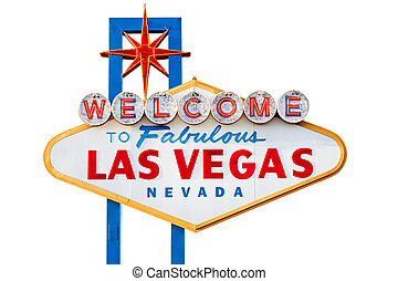 las vegas sign isolated on white - las vegas sign on the...