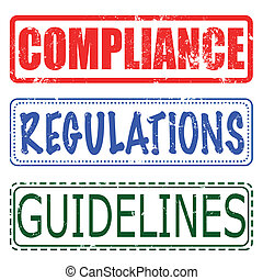 compliance, regulations, guidelines set stamp - compliance,...