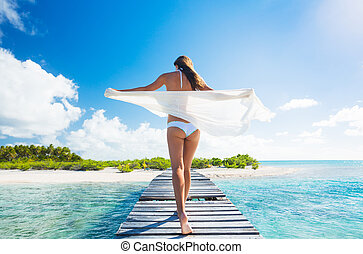 Woman Relaxing Tropical Island - Beautiful Young Woman...