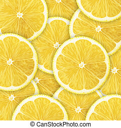 lemon slices - background of heap fresh yellow lemon slices