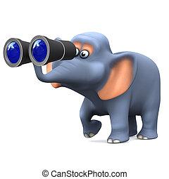 3d Elephant birdwatcher - 3d render of an elephant looking...