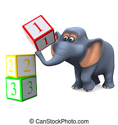 3d Elephant learns to count - 3d render of an elephant using...