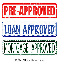 mortgage , loan , pre-approved set stamp - mortgage, loan,...