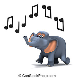 3d Elephant hears music - 3d render of an elephant whistling