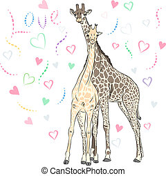 Vector Funny couple in love giraffes - Funny couple in love...