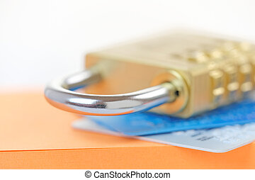 Credit Card Security - Padlock on credit cards Card security...