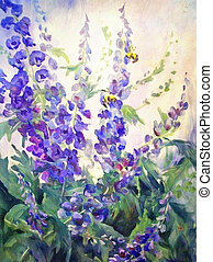 Flowers Oil Digital Painting - Flowers and bee summer floral...