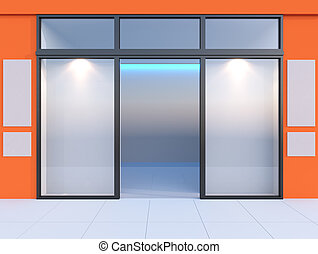 Shopfront with windows and signboard Orange store