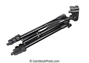 Photo-tripod on white - Single black phototripod Isolated on...