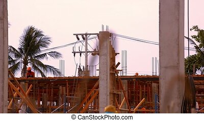 KOH SAMUI, THAILAND - JUNE 21: Construction worker working on a construction site. Video