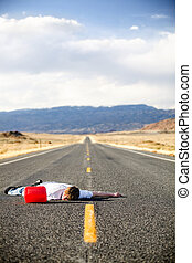 out of gas - teen male laying dead in the middle of a remote...
