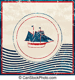 Vector Nautical Background - Vector Illustration of a...