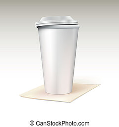 Paper cup for coffee standing on a napkin Template for your...