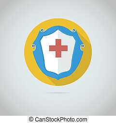 Flat vector icon with red cross.