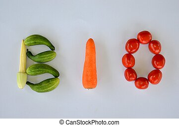 The word BIO written with vegetable letters as a symbol for...