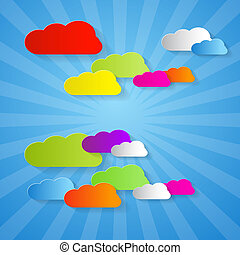 Colorful Cut Paper Clouds on Blue Background