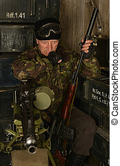 Armed combat soldier - Elderly armed combat soldiers thought...