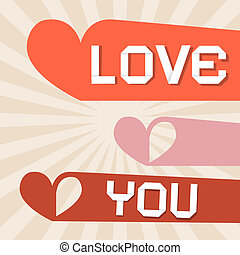 Love You Retro Paper Vector Illustration with Hearts