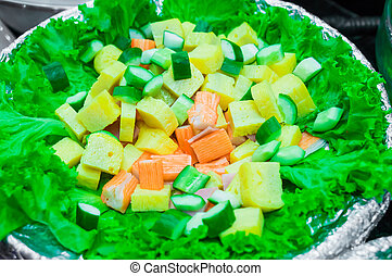 Salad bar green vegetable, close up