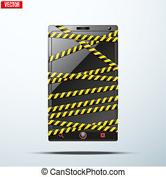 Smartphone, mobile phone wrapped danger tape. Vector...