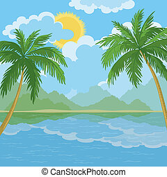 Tropical sea landscape with palm trees - Tropical landscape,...