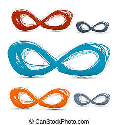 Hand Drawn Vector Paper Infinity Symbols Set