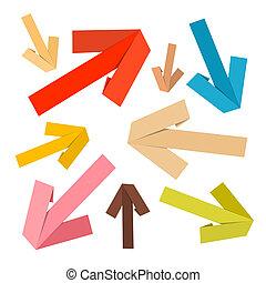 vetorial, papel, setas, jogo, retro, cores