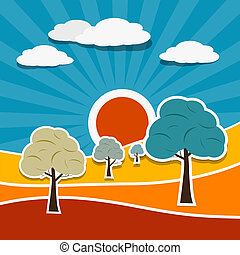 Vector Landscape Illustration with Paper Trees