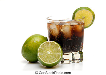rum and coke with limes for garnish