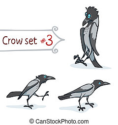 Hooded Crow Set - Hooded crow character design set number 3...