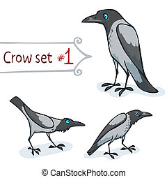 Hooded Crow Set - Hooded crow character design set number 1...
