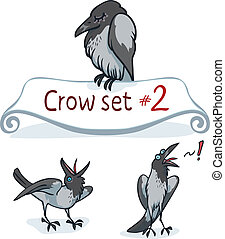 Hooded Crow Set - Hooded crow character design set number 2...