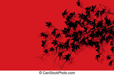 Tree branches over red