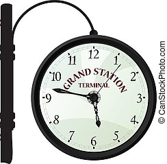 Vintage railway station clock over white background