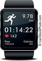 Smartwatch run Fitness - detailed illustration of a...