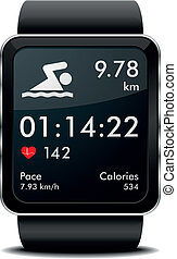 Smartwatch swim Fitness - detailed illustration of a...