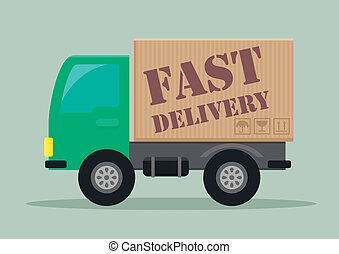 delivery truck fast - detailed illustration of a delivery...