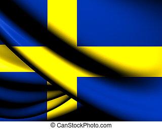 Flag of Sweden. Close Up.