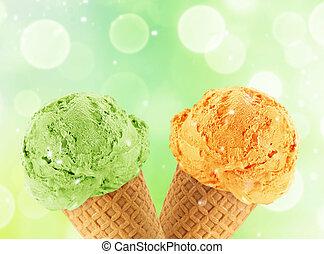 Ice Cream cone - Kiwi and mango Ice cream in the cone with...