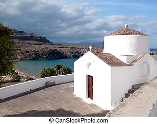 white church in the town of Lindos on Rhodes