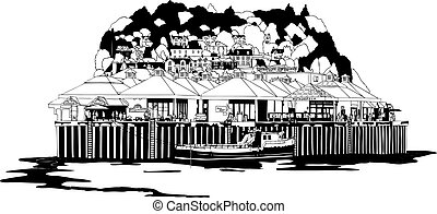 Isolated vector of Seaside harbour - Isolated vector of Oban...
