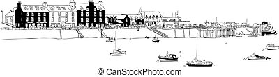 Seaside Harbour with Boats Vector - Isolated vector of...