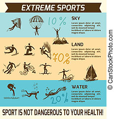 Extreme sports infographic - Extreme sky land water sports...