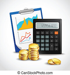 Calculator and golden coins - Realistic calculator clipboard...