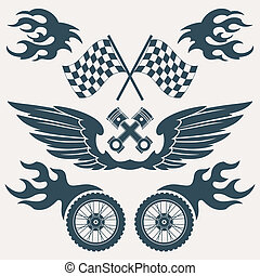 Motorcycle design elements - Motorcycle grunge design...