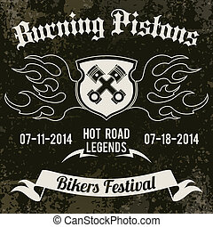 Motorcycle design poster - Motorcycle grunge burning pistons...