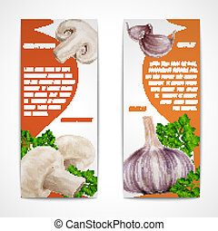 Garlic champignon banners - Vegetable organic food realistic...
